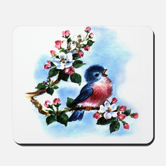 BLUEBIRD AND BLOSSOMS Mousepad