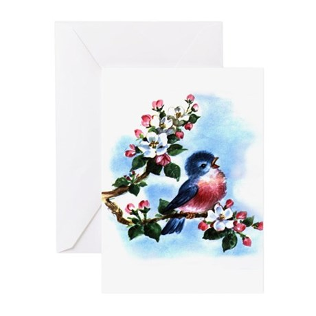 BLUEBIRD AND BLOSSOMS Greeting Cards (Pk of 10
