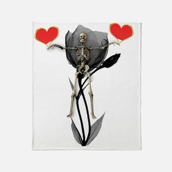 Skeleton, Black Flower and Red Heart Throw Blanket