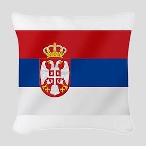 Flag of Serbia Woven Throw Pillow