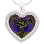 Mimbres Olive Quail Silver Heart Necklace