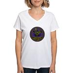 Mimbres Olive Quail Women's V-Neck T-Shirt