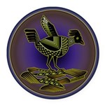 Mimbres Olive Quail Round Car Magnet