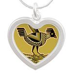 Mimbres Quail Ochre Silver Heart Necklace