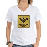 Mimbres Quail Ochre Women's V-Neck T-Shirt