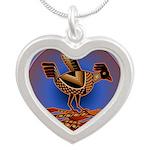 Mimbres Quail 3 Silver Heart Necklace