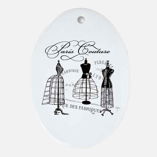 B&W Vintage Style Paris Couture Dressforms Ornamen