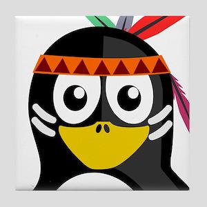 Native American Penguin Tile Coaster