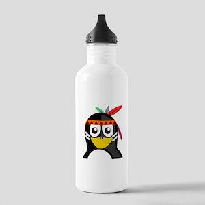 Native American Penguin Sports Water Bottle