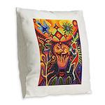 Shaman Red Deer 1 Burlap Throw Pillow