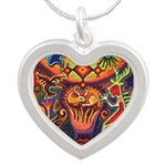 Shaman Red Deer 1 Silver Heart Necklace