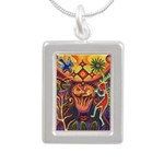 Shaman Red Deer 1 Silver Portrait Necklace