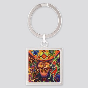 Shaman Red Deer 1 Square Keychain