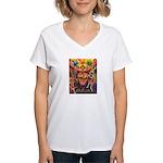 Shaman Red Deer 1 Women's V-Neck T-Shirt