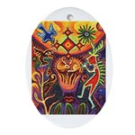 Shaman Red Deer 1 Ornament (Oval)