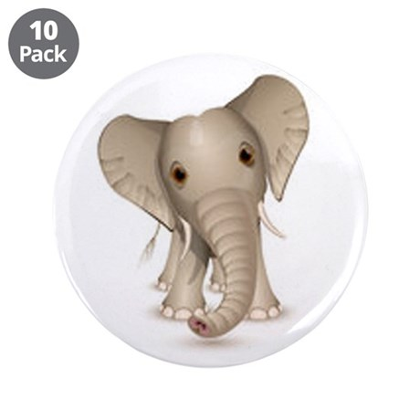 """Cute baby elephant 3.5"""" Button (10 pack)"""