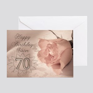 70th Birthday For Sister Pink Rose Greeting Card