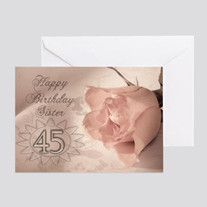 45th Birthday for sister, pink rose Greeting Card