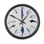 12 Dolphins and Whales Clock Large Wall Clock