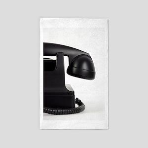 Black and White Retro Telephone Photo 3'x5' Area R