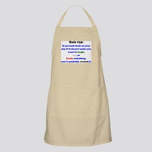 Rule 35 Laugh, Cry, Break Something Apron