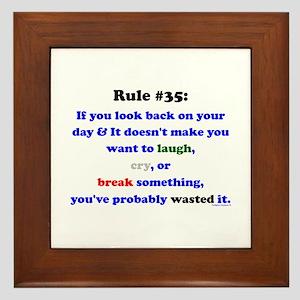 Rule 35 Laugh, Cry, Break Something Framed Tile