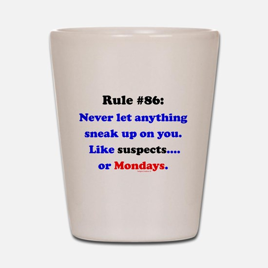 Rule 86 Nothing Sneaks Up On You Shot Glass