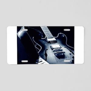 Vintage Guitar - Blue Tone Aluminum License Plate
