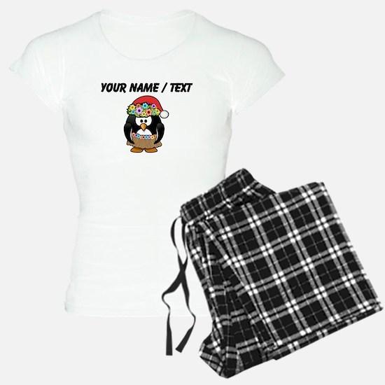 Custom Hawaiian Christmas Penguin pajamas