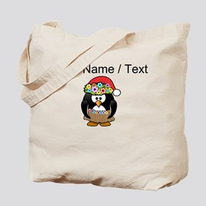 Custom Hawaiian Christmas Penguin Tote Bag