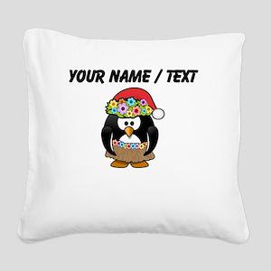 Custom Hawaiian Christmas Penguin Square Canvas Pi