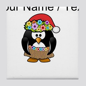 Custom Hawaiian Christmas Penguin Tile Coaster