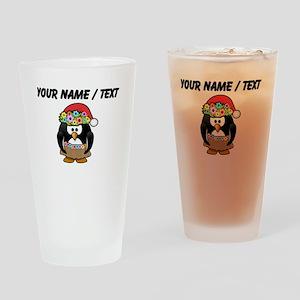 Custom Hawaiian Christmas Penguin Drinking Glass