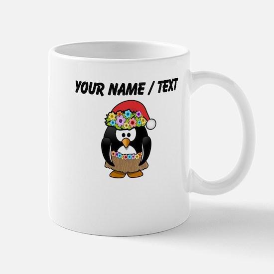 Custom Hawaiian Christmas Penguin Small Mug