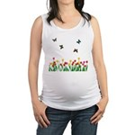 Tulip Garden and Butterflies Maternity Tank Top