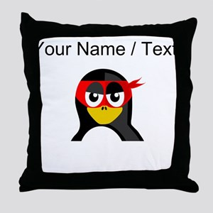Custom Superhero Penguin Throw Pillow