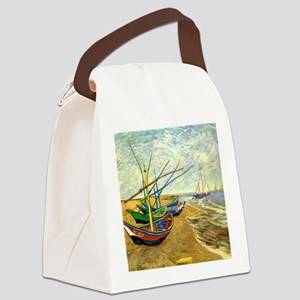 Van Gogh Fishing Boats on Beach a Canvas Lunch Bag
