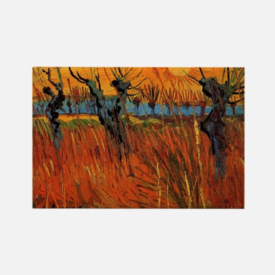 Van Gogh Willows at Sunset Rectangle Magnet