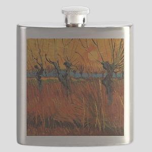 Van Gogh Willows at Sunset Flask