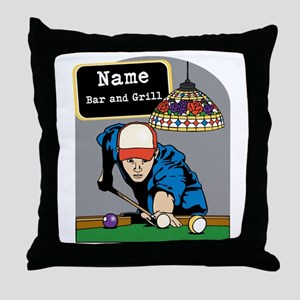 Personalized Mens Billiards Throw Pillow