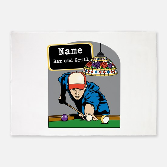 Personalized Mens Billiards 5'x7'Area Rug