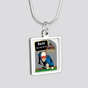 Personalized Mens Billiards Silver Square Necklace