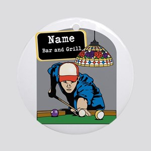 Personalized Mens Billiards Ornament (Round)