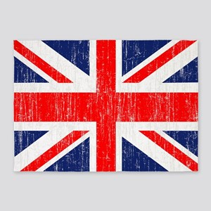 Distressed Union Jack 5 by 7 rug 5'x7'Area Rug