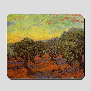 Van Gogh Olive Grove: Orange Sky Mousepad