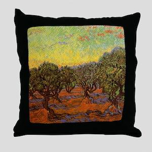Van Gogh Olive Grove: Orange Sky Throw Pillow