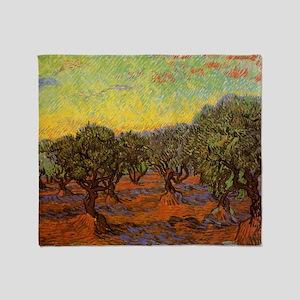 Van Gogh Olive Grove: Orange Sky Throw Blanket
