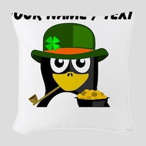 Custom Irish Penguin Woven Throw Pillow