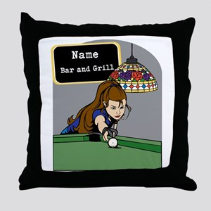 Personalized Womens Billiards Throw Pillow