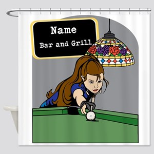 Personalized Womens Billiards Shower Curtain
